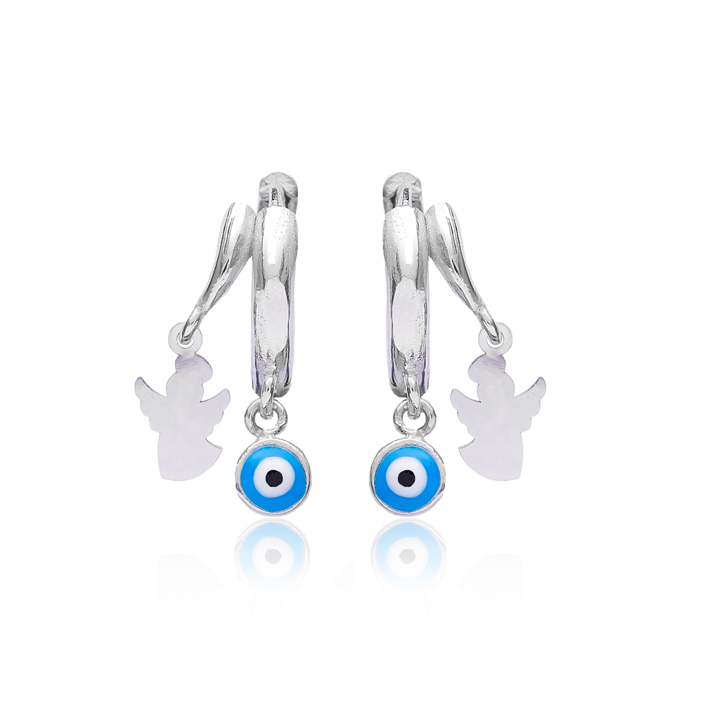 Simple Evil Eye Angle Earrings Turkish Wholesale 925 Sterling Silver Jewelry