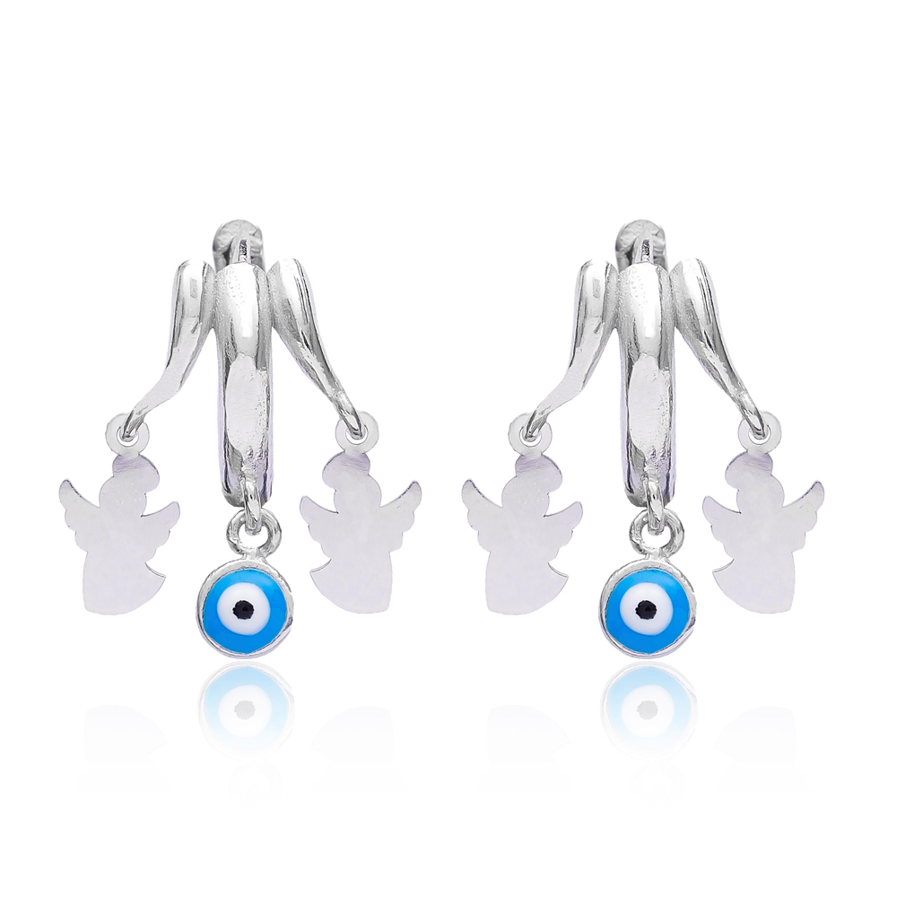 Evil Eye Simple Angle Earrings Turkish Wholesale 925 Sterling Silver Jewelry
