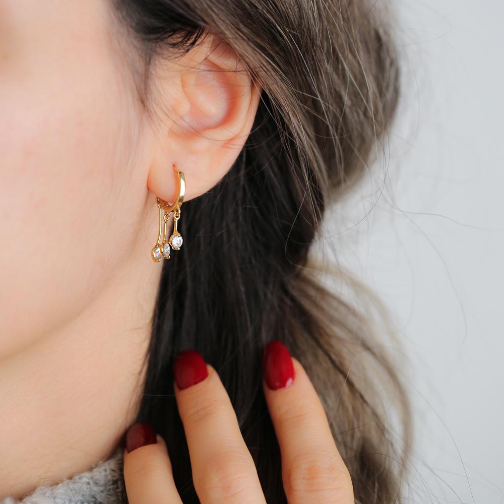 Elegant Zircon Stone Silver Hoop Earrings Wholesale 925 Sterling Silver Jewelry