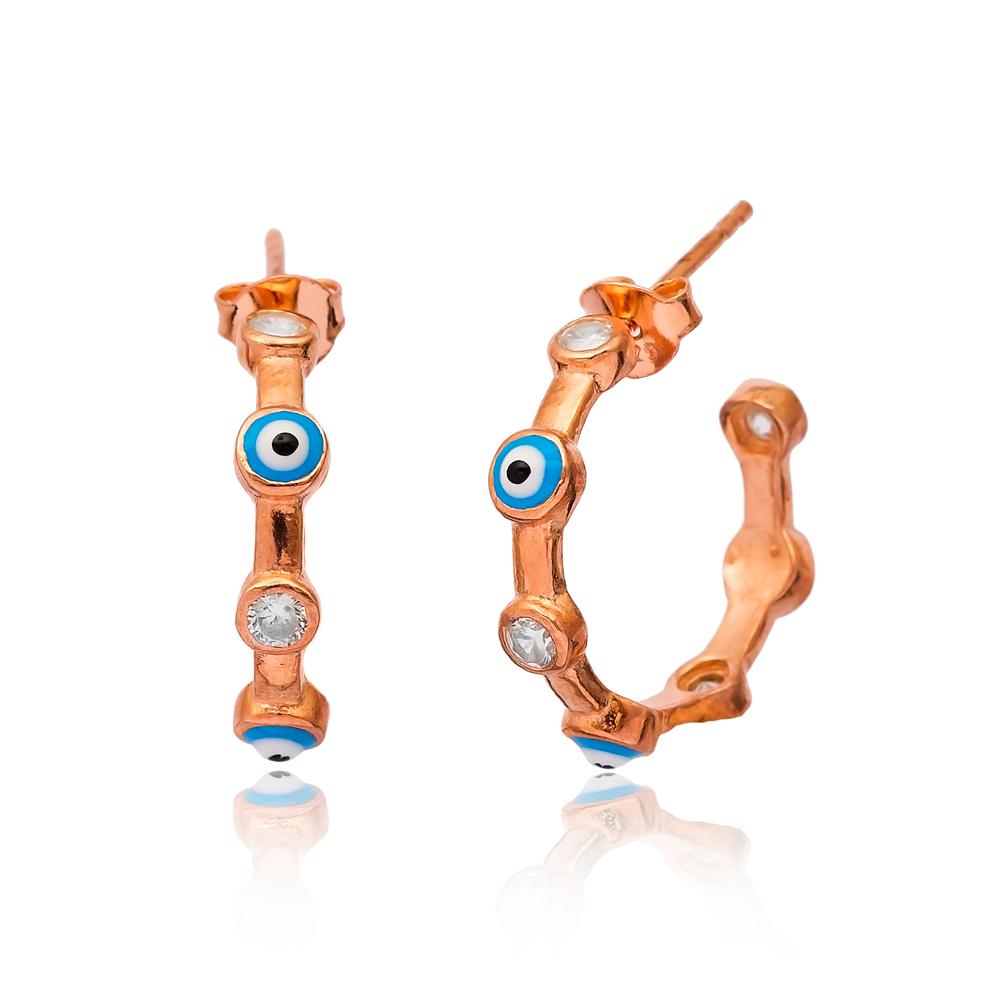 Evil Eye Silver Hoop Earrings Turkish Wholesale 925 Sterling Silver Jewelry Earring