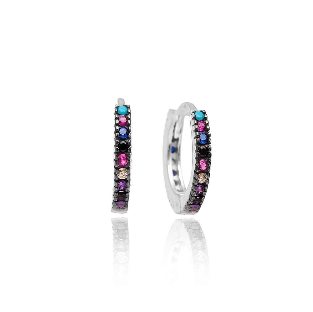 Mix Stone Hoop Earrings Minimal Design Wholesale Turkish 925 Sterling Silver Jewelry
