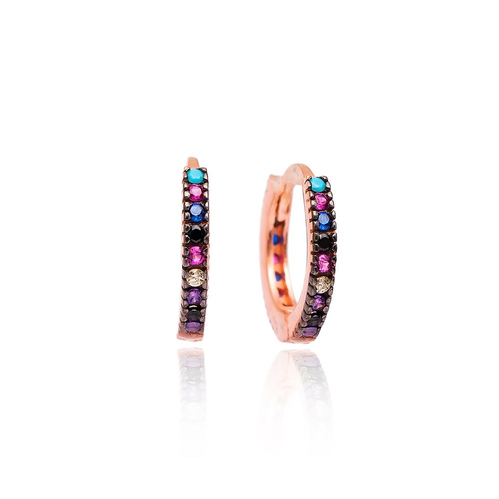 Mix Stone Hoop Earrings Minimal Design Wholesale Turkish 925 Silver Jewelry