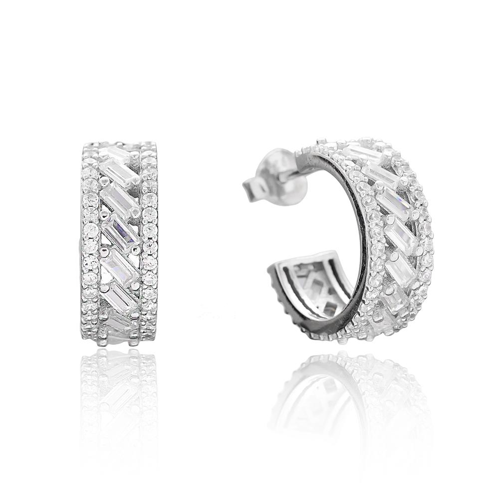 Trendy Baguette Zircon Hoop Silver Earring Wholesale 925 Sterling Silver Jewelry