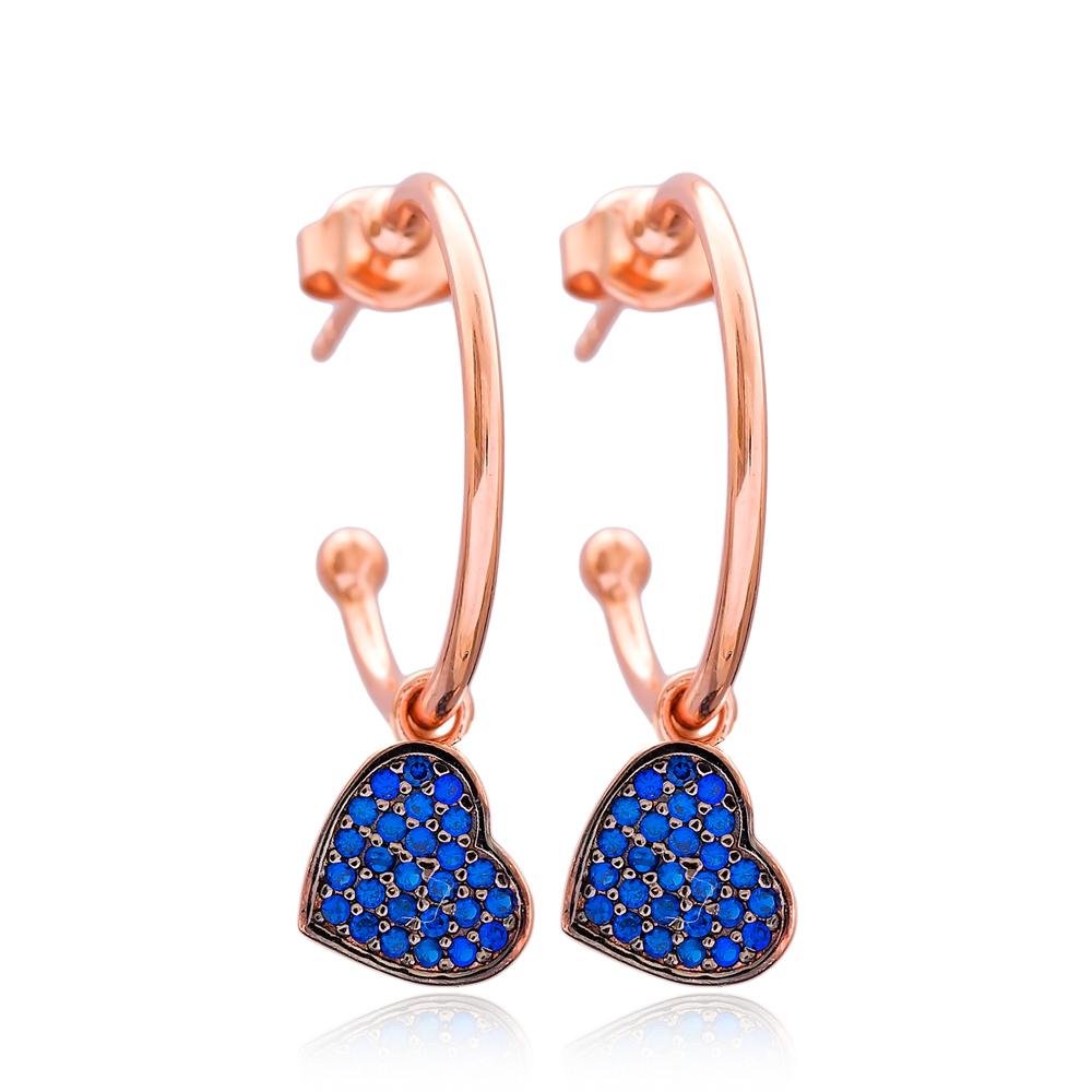 Heart Dangle Earring Wholesale Handmade Turkish 925 Silver Sterling Jewelry
