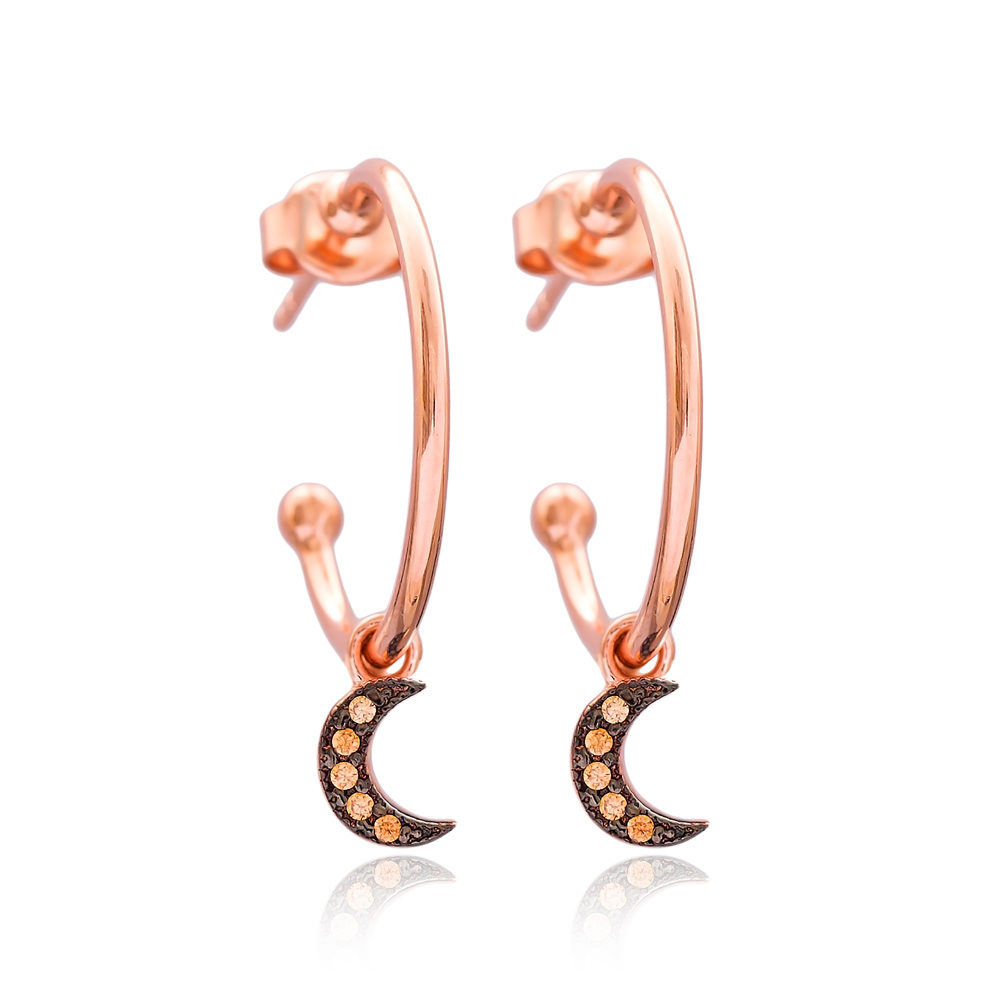 Crescent Moon Dangle Earring Wholesale Handmade Turkish 925 Silver Sterling Jewelry