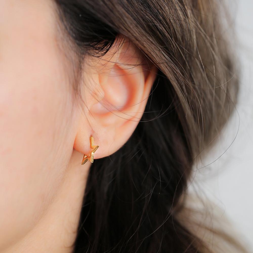 Star Hoop Earring Wholesale Handmade Turkish 925 Silver Sterling Jewelry