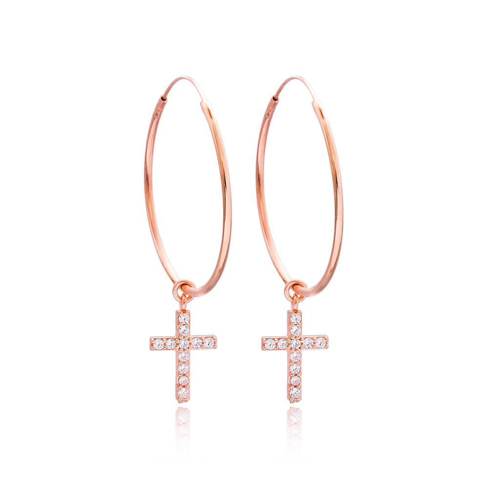 Confessions Cross Hoop Earrings Turkish Wholesale Sterling Silver Earring