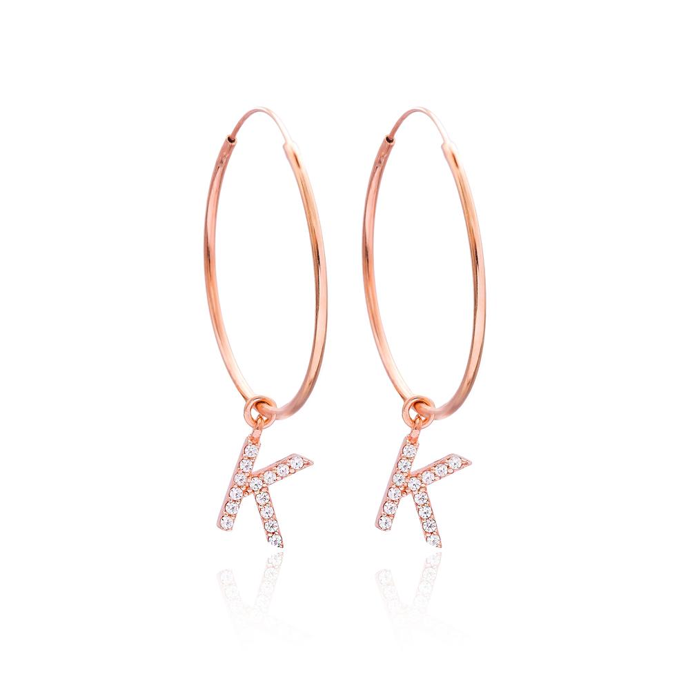 K Alphabet Hoop Earrings Turkish Wholesale Sterling Silver Earring