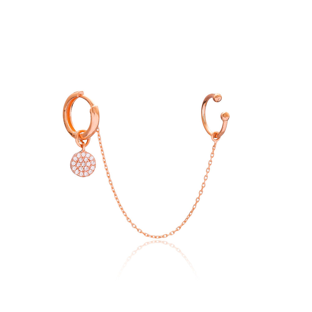 Round Single Cartilage And Hoop Earrings Turkish Wholesale 925 Sterling Silver Jewelry