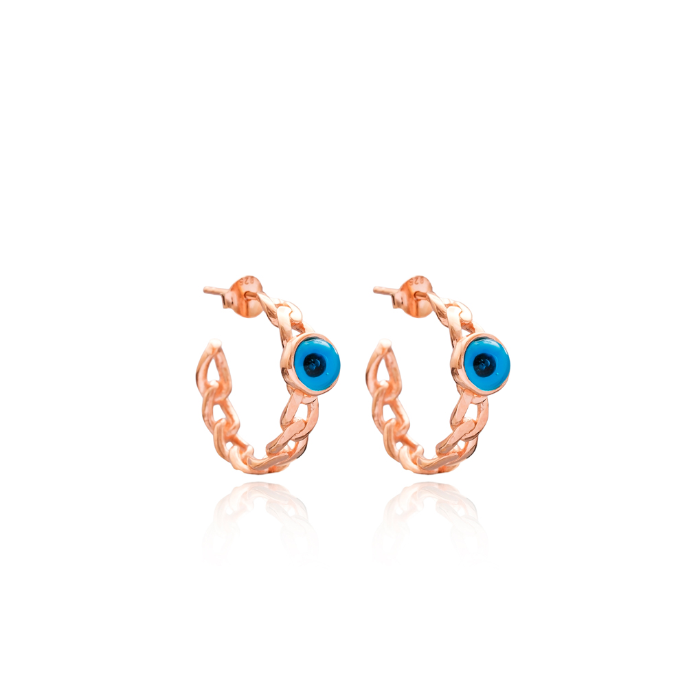Evil Eye Design Hoop Earring Wholesale Handmade Turkish 925 Silver Sterling Jewelry