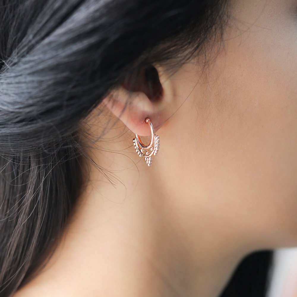 Fashionable Hoop Earrings Turkish Wholesale Handmade 925 Sterling Silver Jewelry
