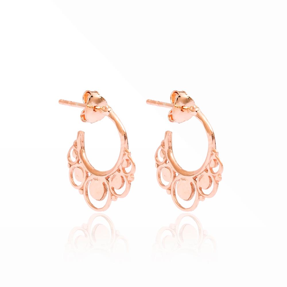 Elegant Hoop Earrings Turkish Wholesale Handmade 925 Sterling Silver Jewelry