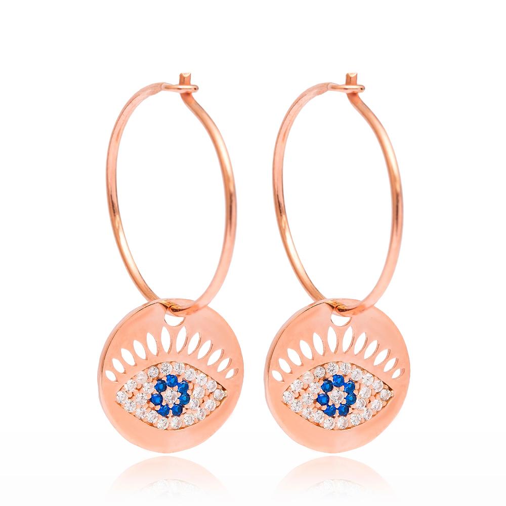 Evil Eye Hoop Earrings Turkish Wholesale Handmade 925 Sterling Silver Jewelry