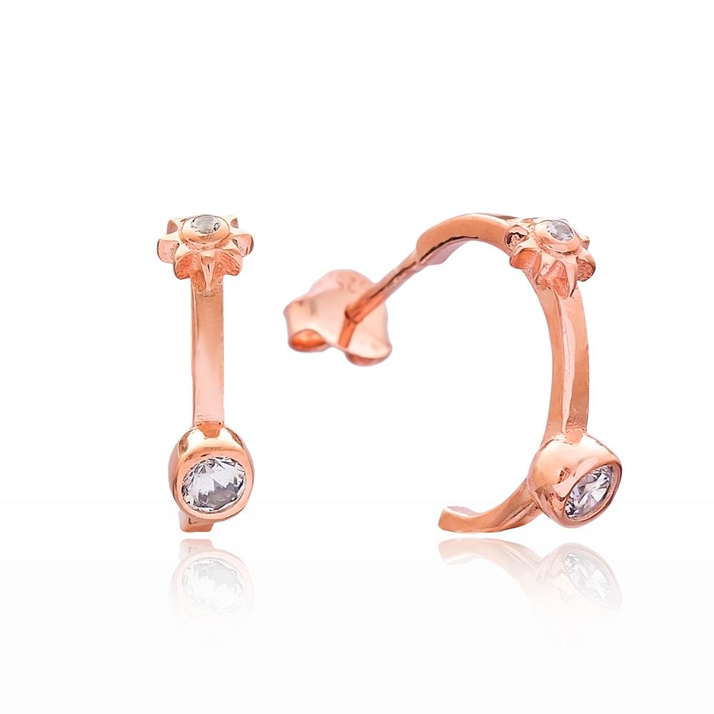 New Trendy Design Hoop Earring Wholesale Handmade Turkish 925 Silver Sterling Jewelry