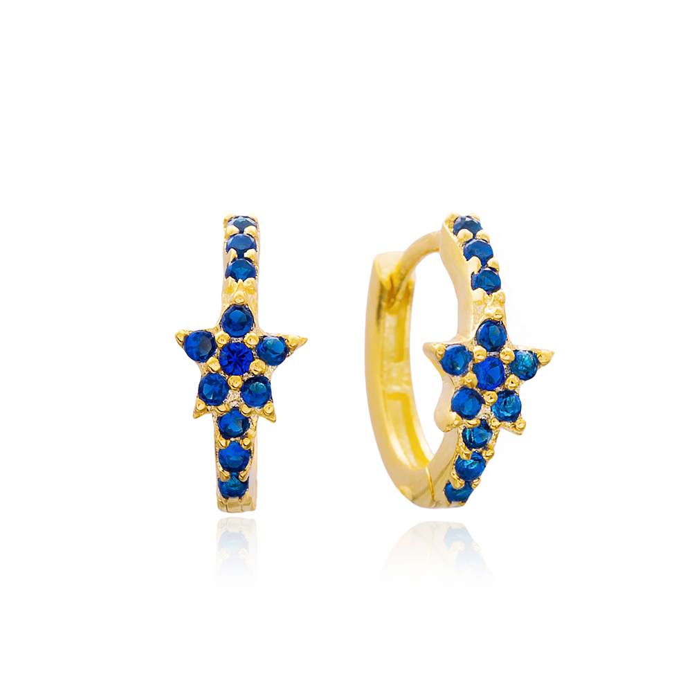 Silver Star Hoop Earrings Turkish Wholesale 925 Sterling Silver Jewelry