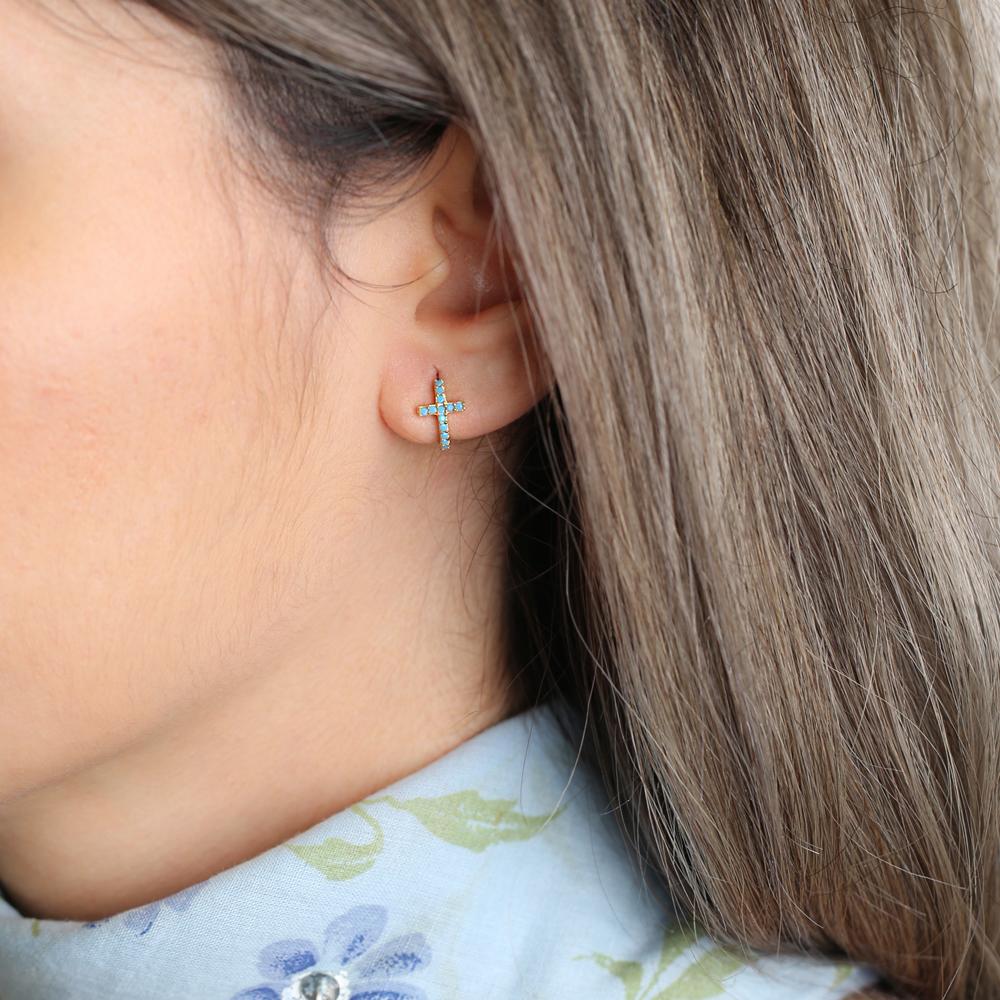 Cross Hoop Earrings Turkish Wholesale 925 Sterling Silver Jewelry