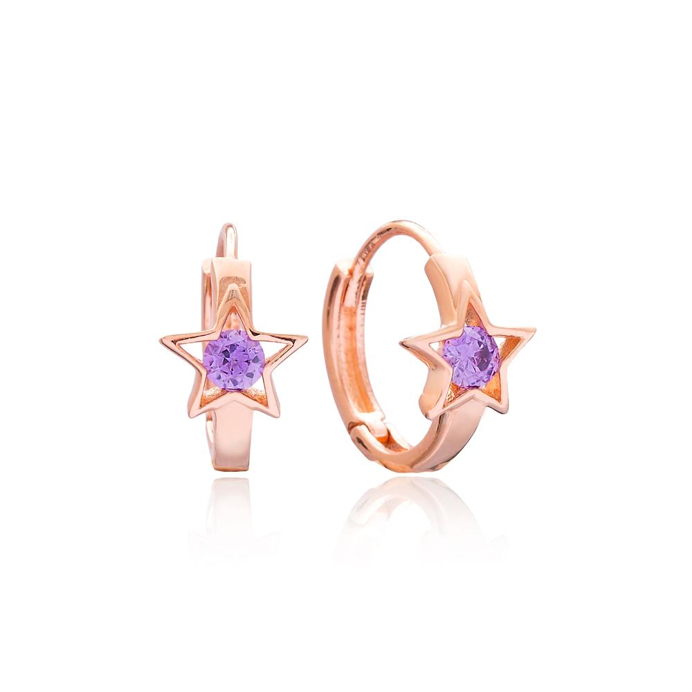 Amethyst Zircon Stone Star Design Earring Wholesale 925 Sterling Silver Jewelry