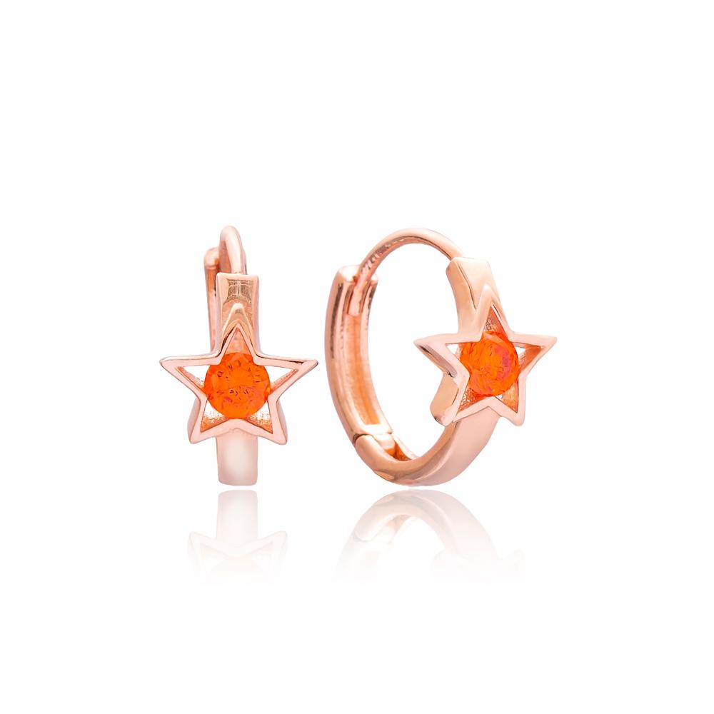Star Design Hoop Earring Wholesale 925 Sterling Silver Jewelry