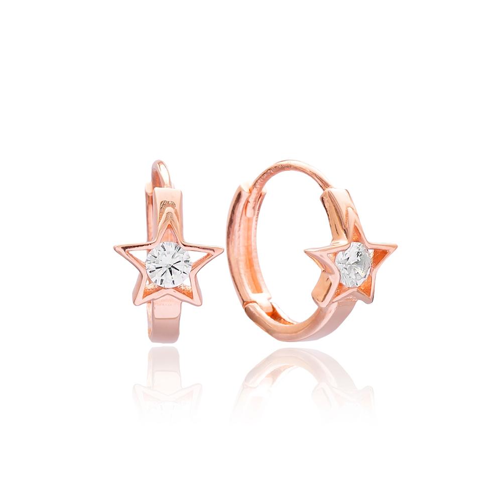 CZ Stone Star Design Earring Turkish Wholesale 925 Sterling Silver Jewellery