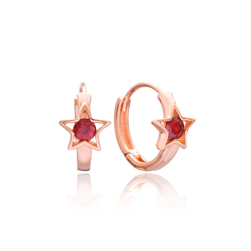 Garnet Zircon Stone Star Design Earring Wholesale 925 Sterling Silver Jewelry