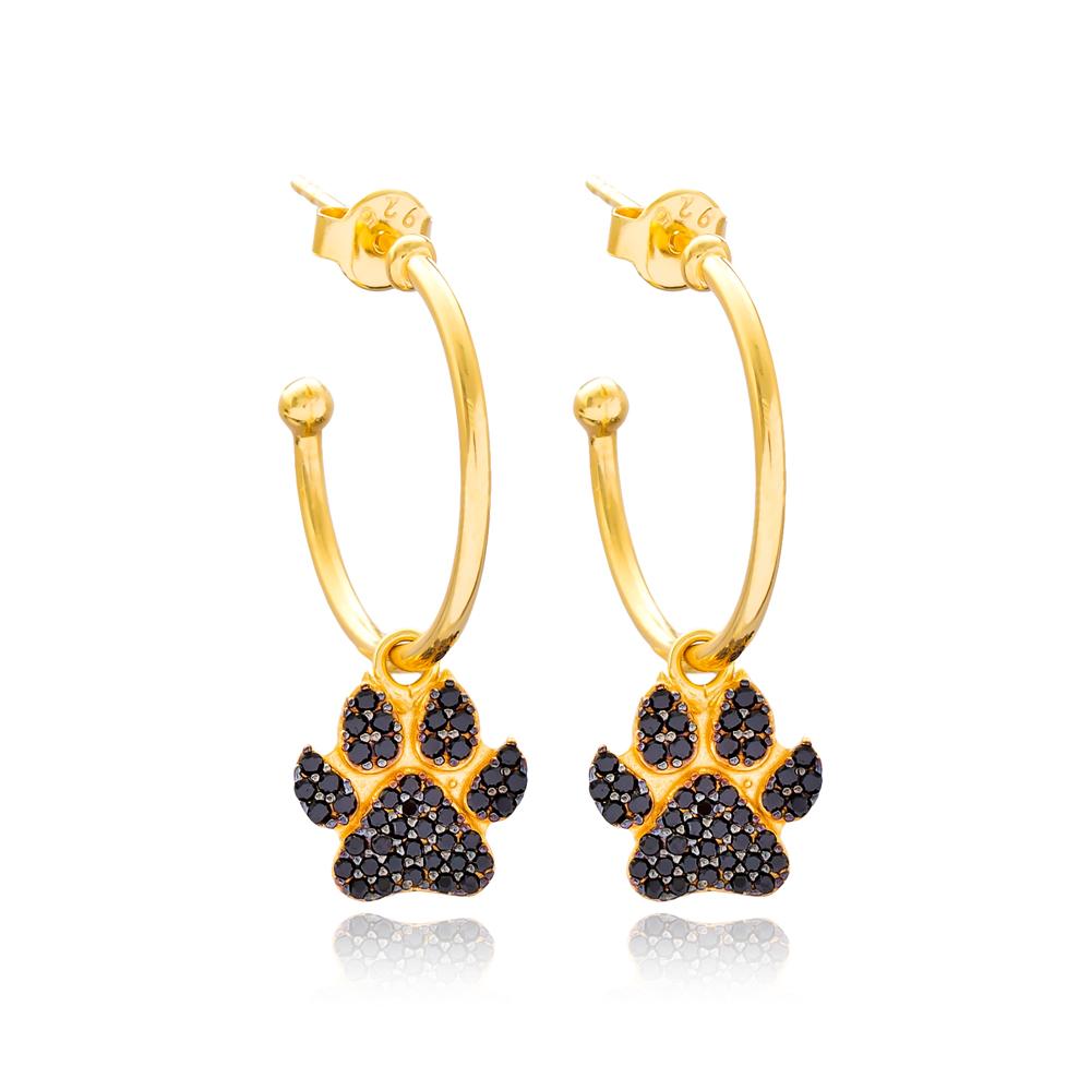 Fashionable Paw Hoop Earrings Turkish Wholesale Handmade 925 Sterling Silver Jewelry