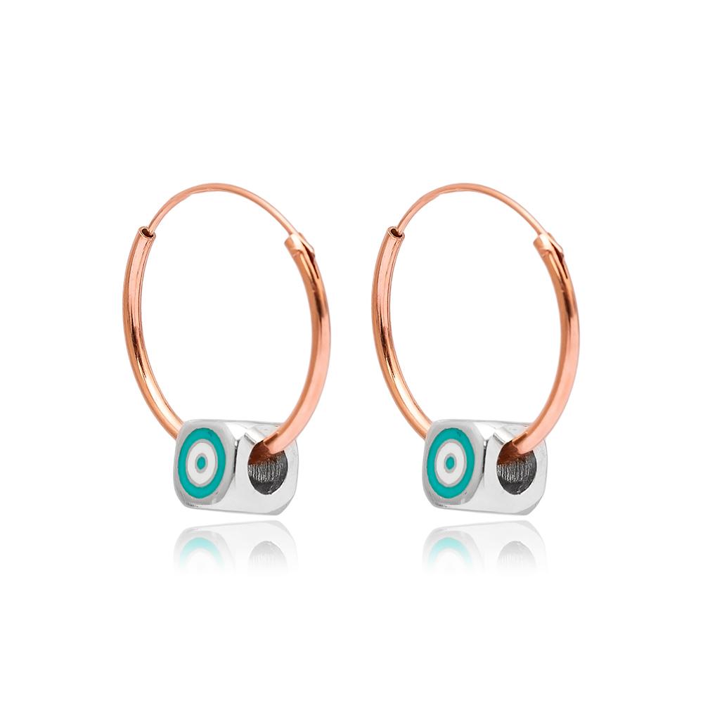 Trendy Enamel Hoop Earrings Wholesale Turkish 925 Sterling Silver Jewelry