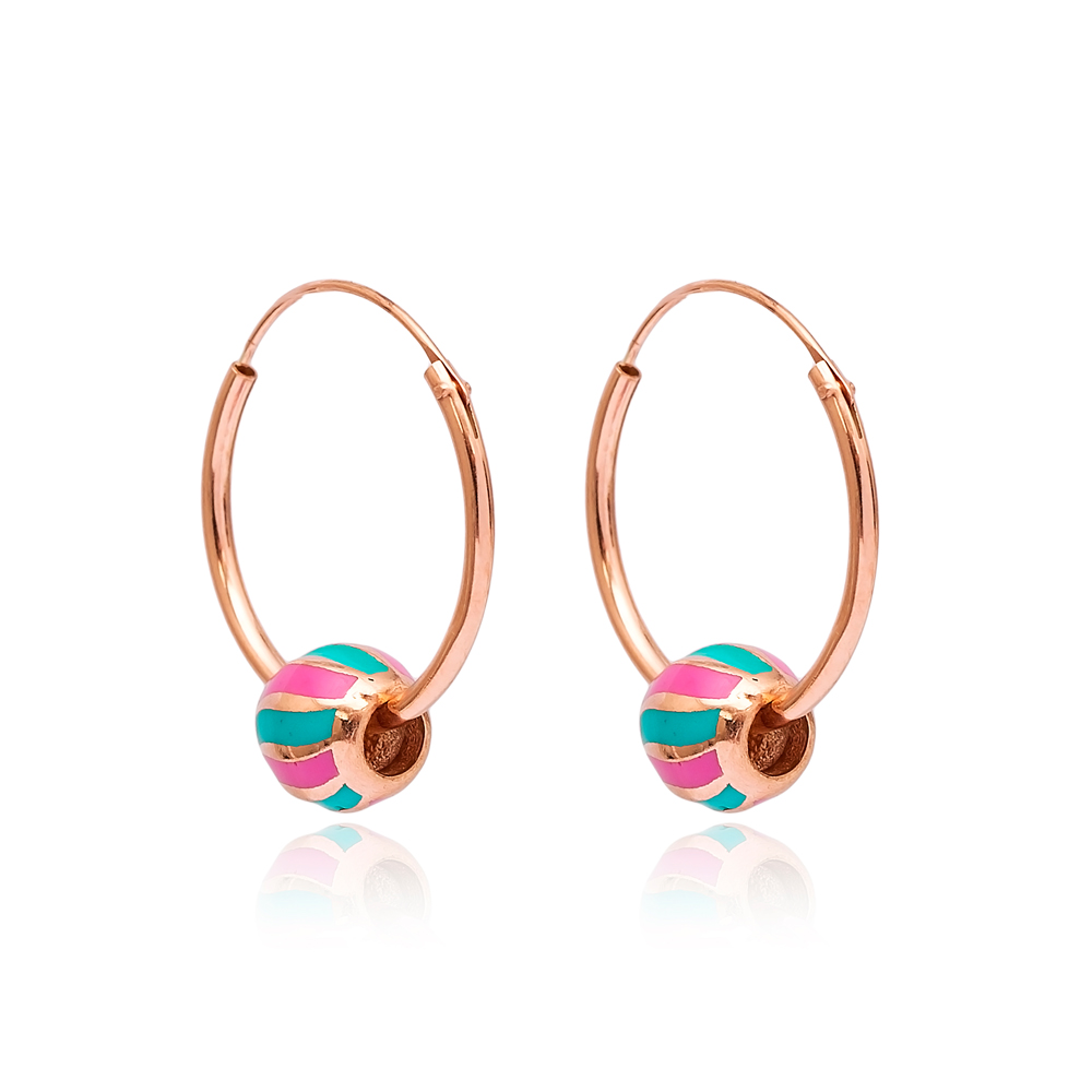 Colorful Enamel Hoop Earrings Wholesale Turkish 925 Sterling Silver Jewelry
