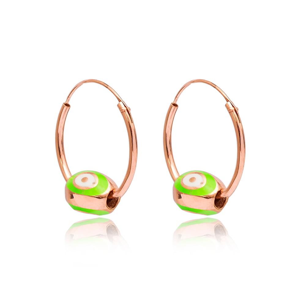 Green Enamel Hoop Earrings Wholesale Turkish 925 Sterling Silver Jewelry