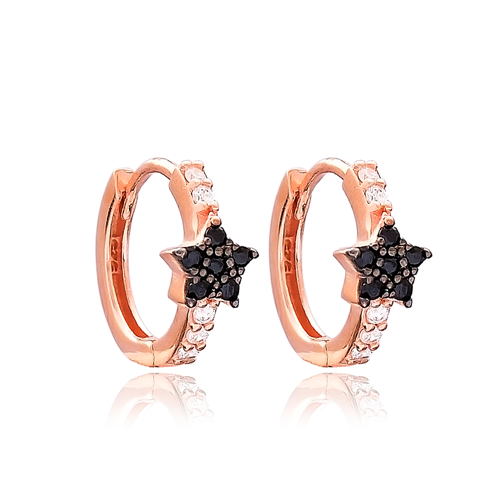 Star Design Hoop Earrings Turkish Wholesale 925 Sterling Silver Jewelry
