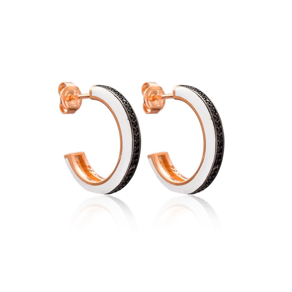 White Enamel Black Zircon Stone Round Design Stud Earrings Turkish Handmade Wholesale 925 Sterling Silver Jewelry