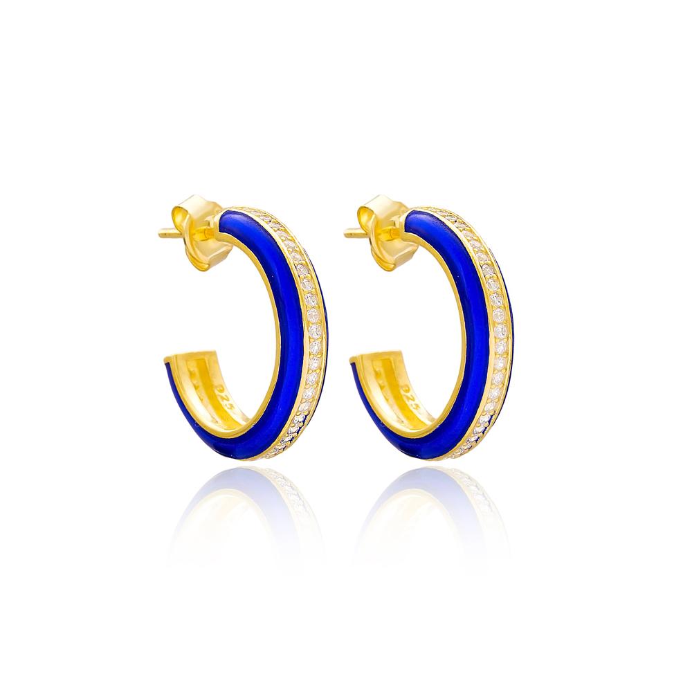 Blue Enamel Zircon Stone Round Design Stud Earrings Turkish Handmade Wholesale 925 Sterling Silver Jewelry