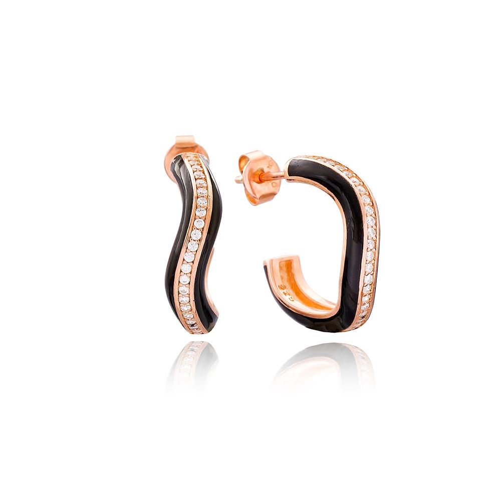 Curve Design Black Enamel Zircon Stone Stud Earrings Turkish Handmade Wholesale 925 Sterling Silver Jewelry