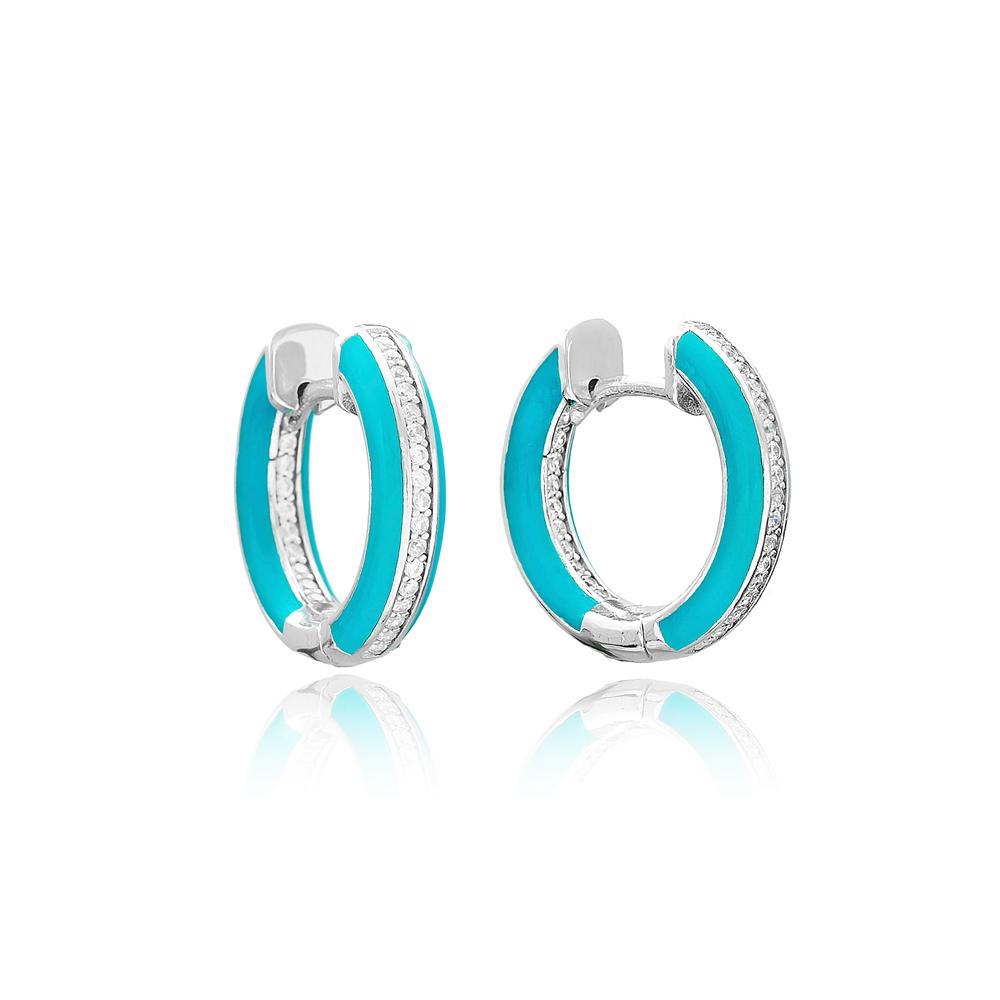 Turquoise Enamel Zircon Stone Hoop Earrings Turkish Wholesale 925 Sterling Silver Jewelry