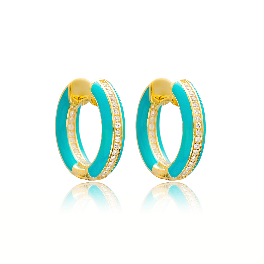 Enamel Zircon Stone Blue Hoop Earrings Turkish Wholesale 925 Sterling Silver Jewelry