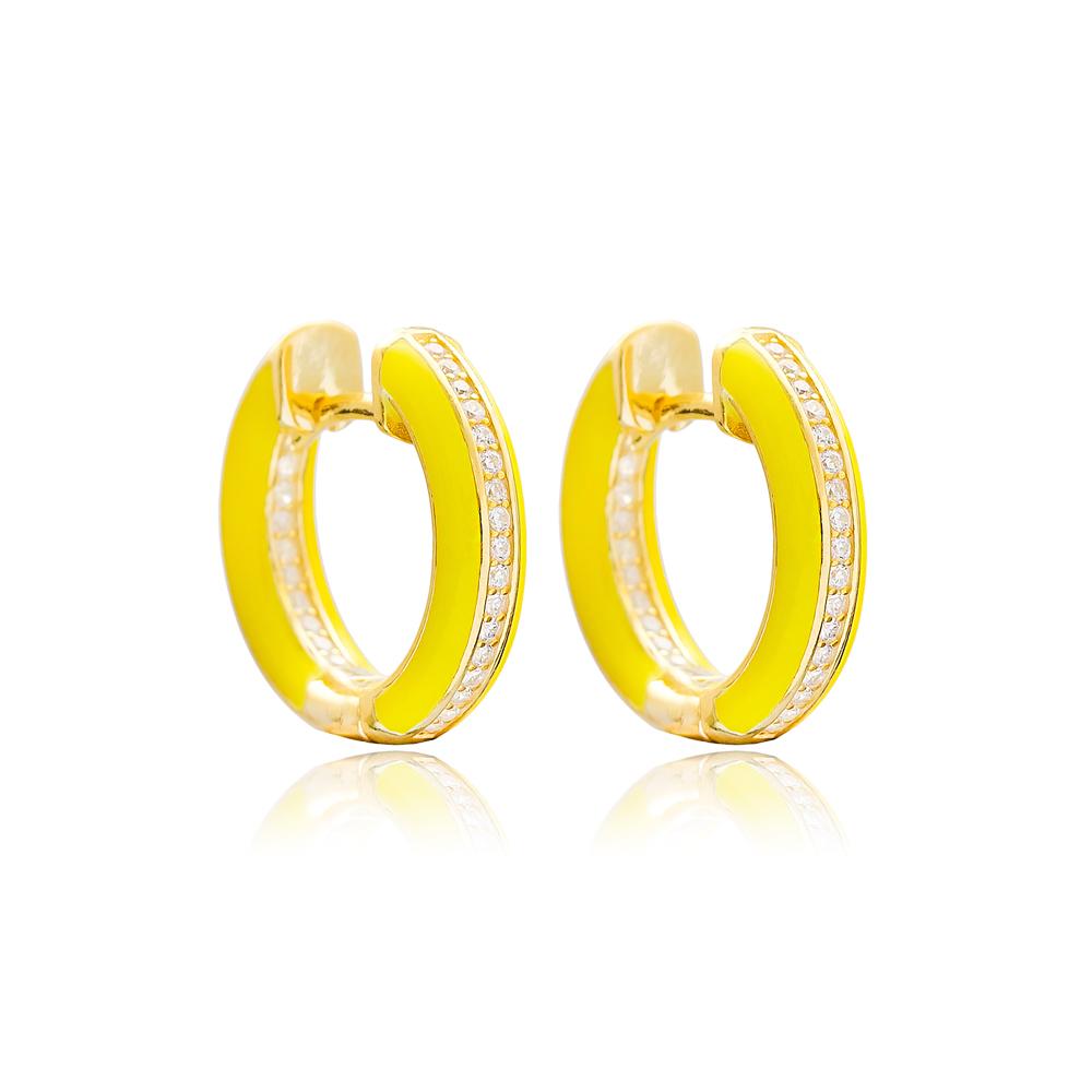 Yellow Enamel Zircon Stone Hoop Earrings Turkish Wholesale 925 Sterling Silver Jewelry