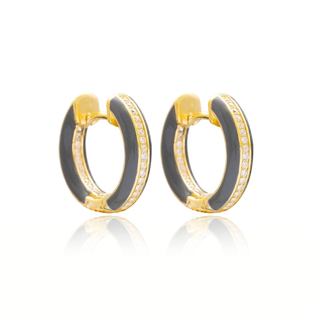 Grey Enamel Zircon Stone Hoop Earrings Turkish Wholesale 925 Sterling Silver Jewelry