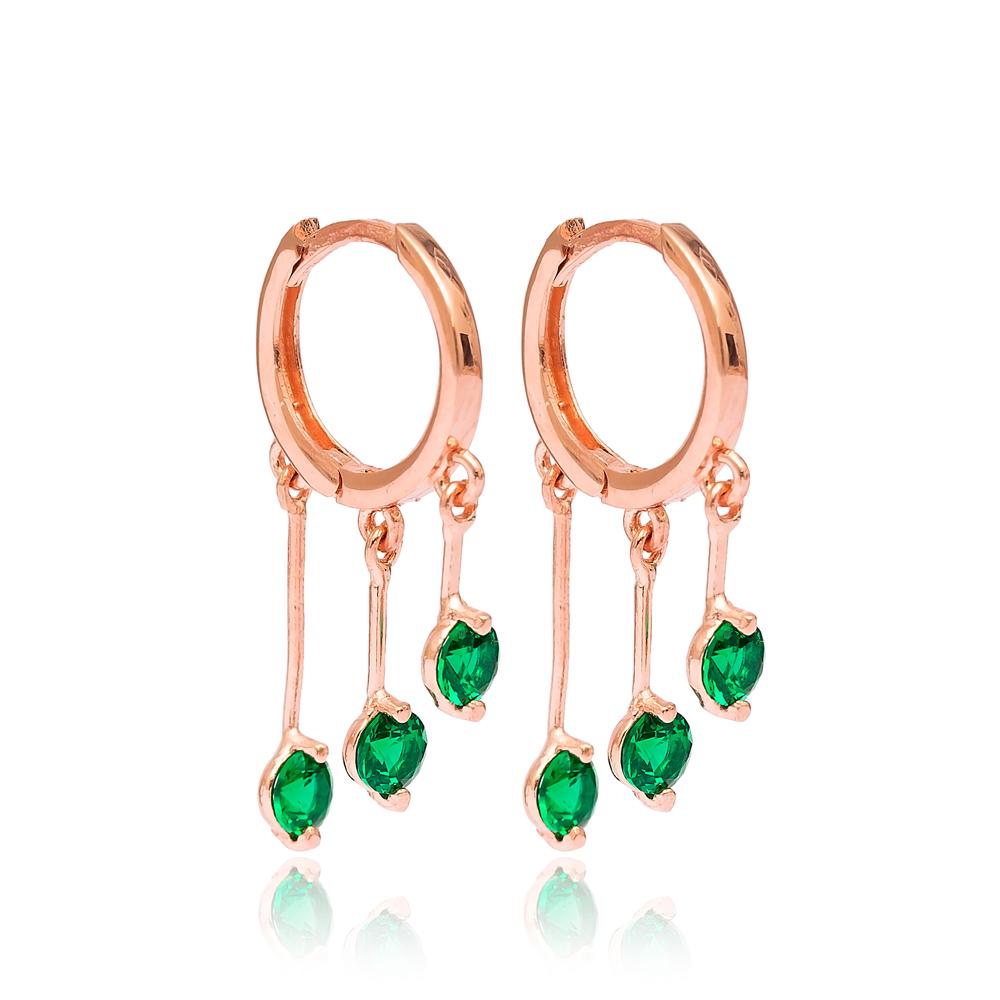 Emerald Stone Hoop Earrings Turkish Wholesale 925 Sterling Silver Jewelry