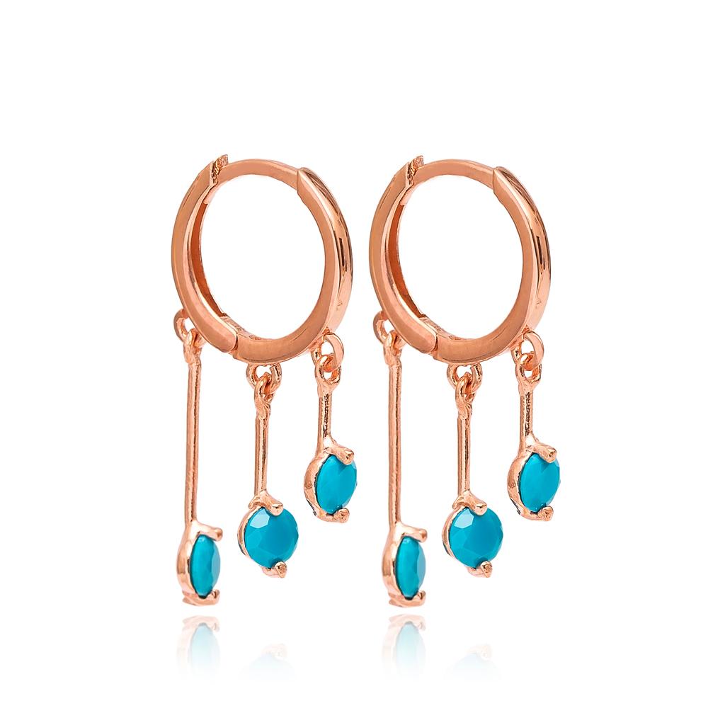 Turquoise Stone Hoop Earrings Turkish Wholesale 925 Sterling Silver Jewelry