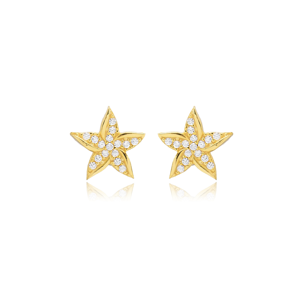 Flower Design Stud Earring Turkish Wholesale Handmade 925 Sterling Silver Jewelry