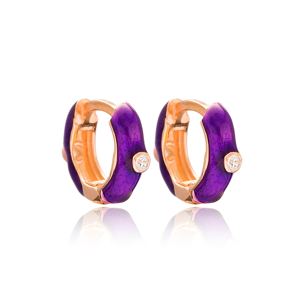 Purple Enamel Trendy Earrings wholesale Turkish 925 Sterling Silver Jewelry