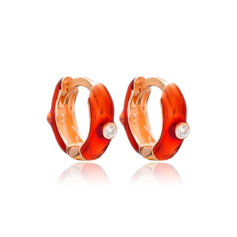 Red Enamel Trendy Earrings wholesale Turkish 925 Sterling Silver Jewelry