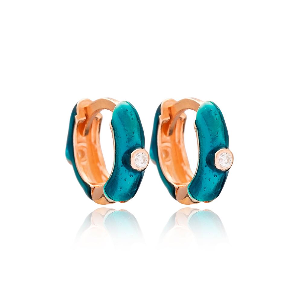 Silver Fashion Enamel Hoop Earrings Wholesale Turkish 925 Sterling Silver Jewelry