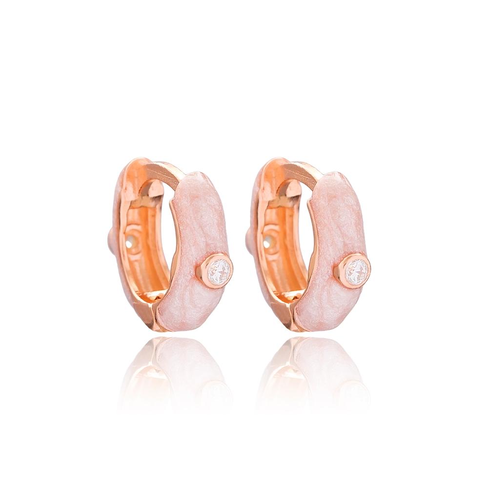 Rose Mother of Pearl Enamel Hoop Earrings Wholesale Turkish 925 Sterling Silver Jewelry