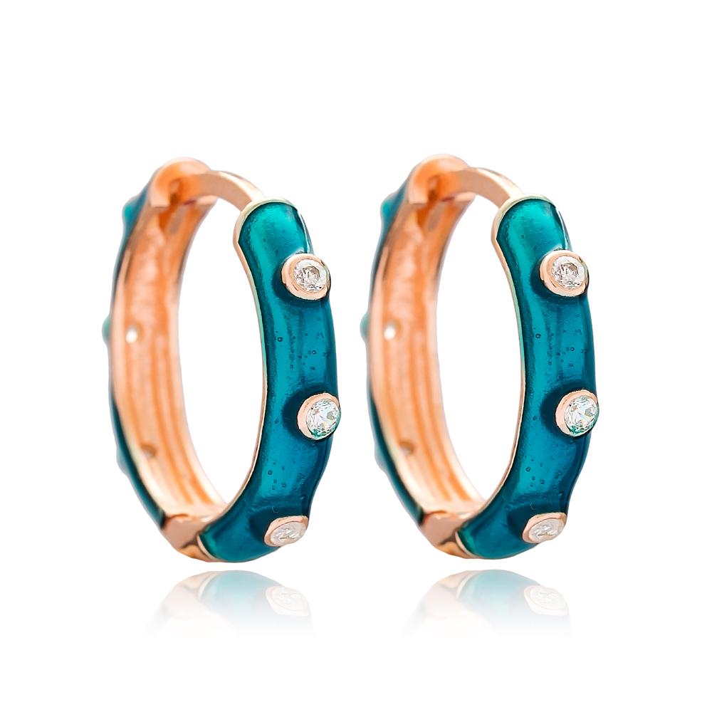 Fashion Silver Enamel Big Hoop Earrings Wholesale Turkish 925 Sterling Silver Jewelry