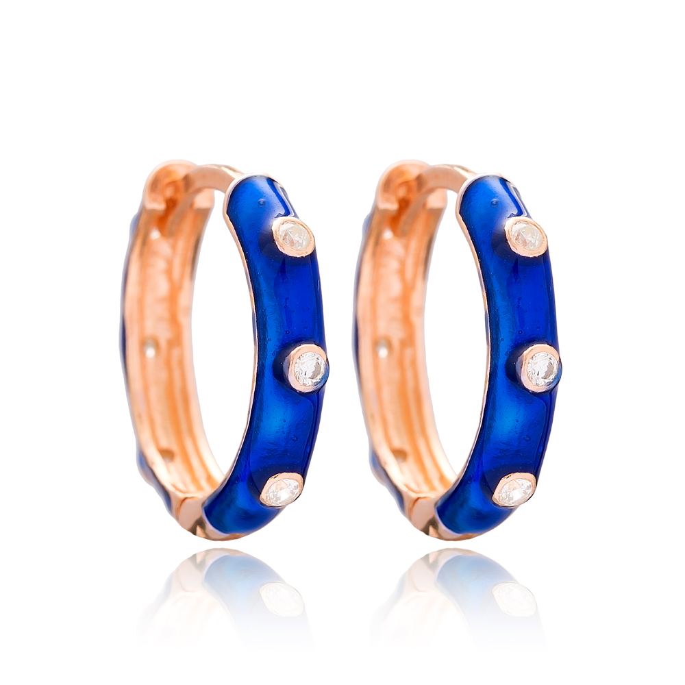 Dark Blue Enamel Big Hoop Earrings Wholesale Turkish 925 Sterling Silver Jewelry