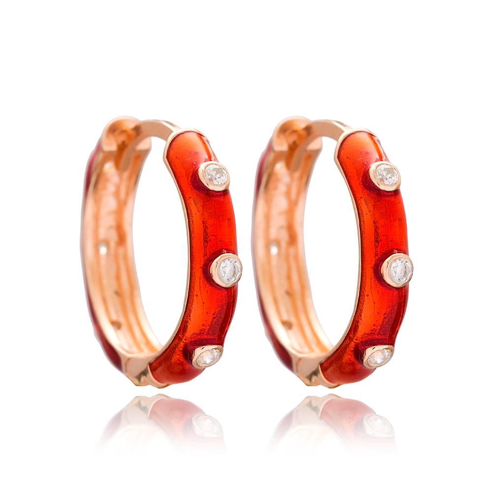 Red Enamel Big Hoop Earrings Wholesale Turkish 925 Sterling Silver Jewelry