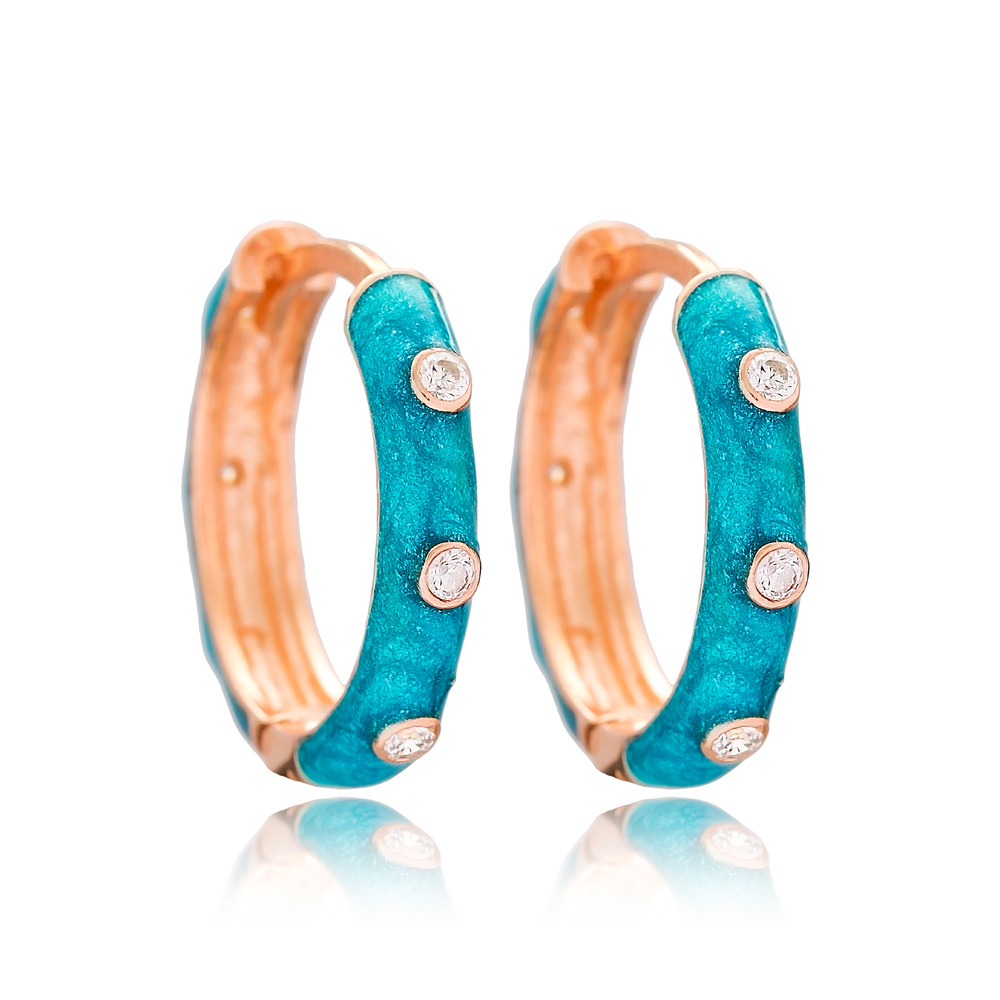 Blue Mother of Pearl Enamel Big Hoop Earrings Wholesale 925 Sterling Silver Jewelry