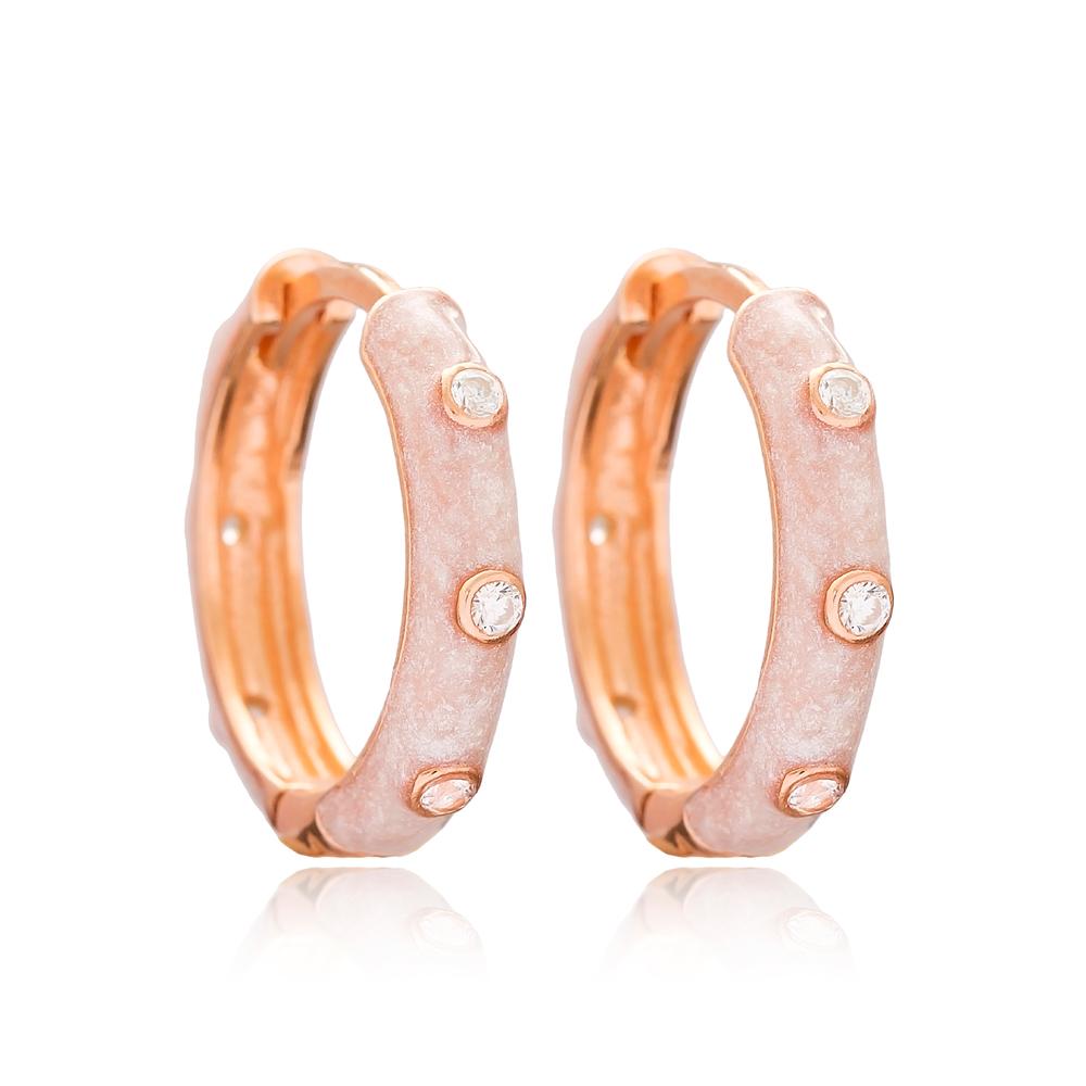 Rose Mother of Pearl Enamel Big Hoop Earrings Wholesale 925 Sterling Silver Jewelry