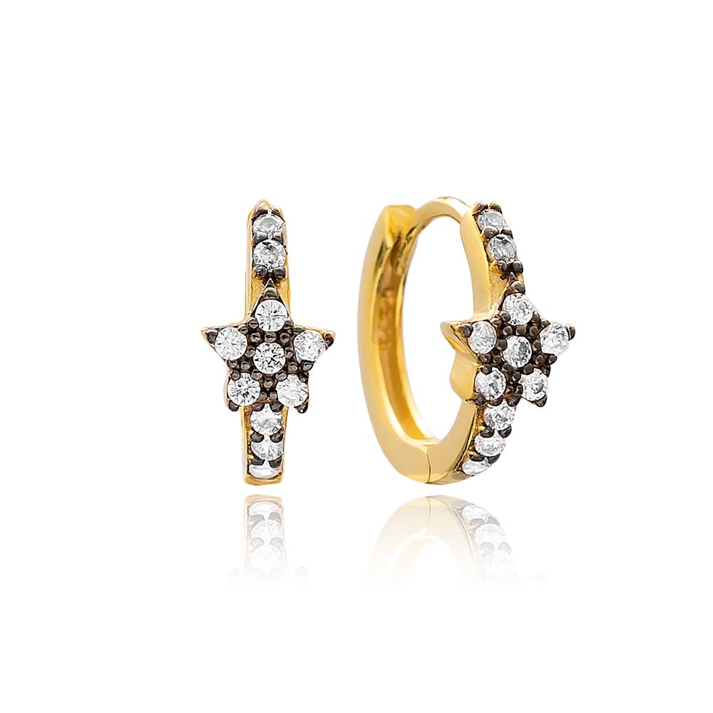 Star Hoop Earrings Turkish Wholesale Handmade 925 Sterling Silver Jewelry