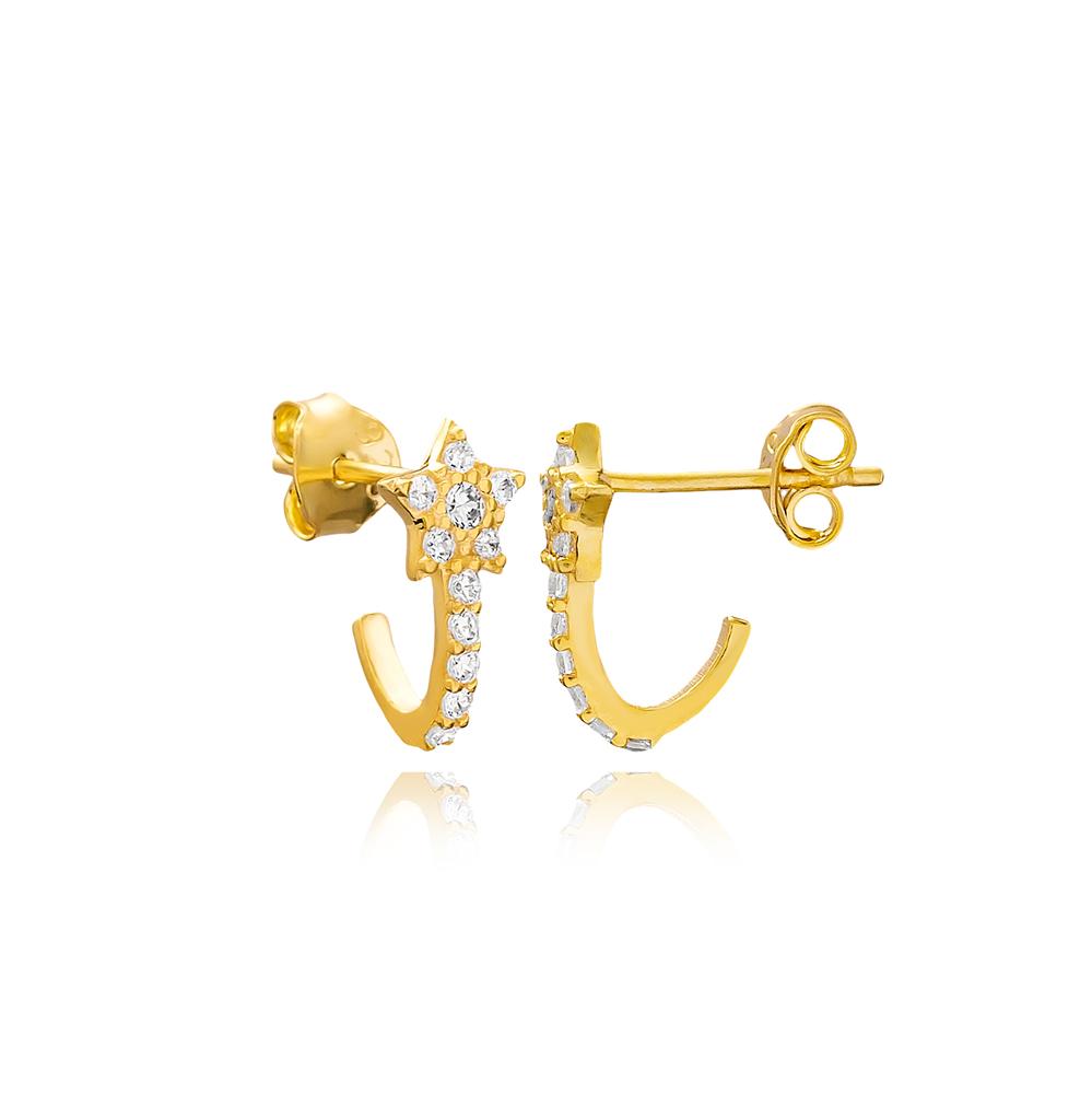 Trendy Star Design Minimal Stud Earrings Wholesale Turkish 925 Sterling Silver Jewelry